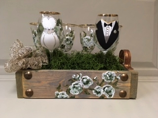 Handpainted (6) piece Bridal Glasses with matching tray