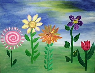 Children Paint Pals Flowers