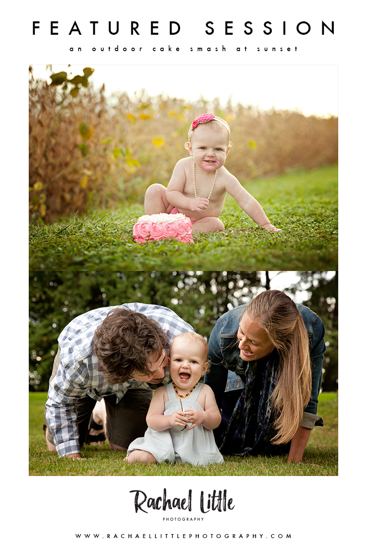A first year photography session, complete with outdoor cake smash! A pretty country baby photography session outside of Woodstock, Ontario, at sunset.