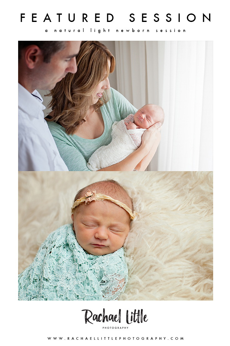 A pretty newborn session in mint green + cream. Photographed in Woodstock, ON with natural light.