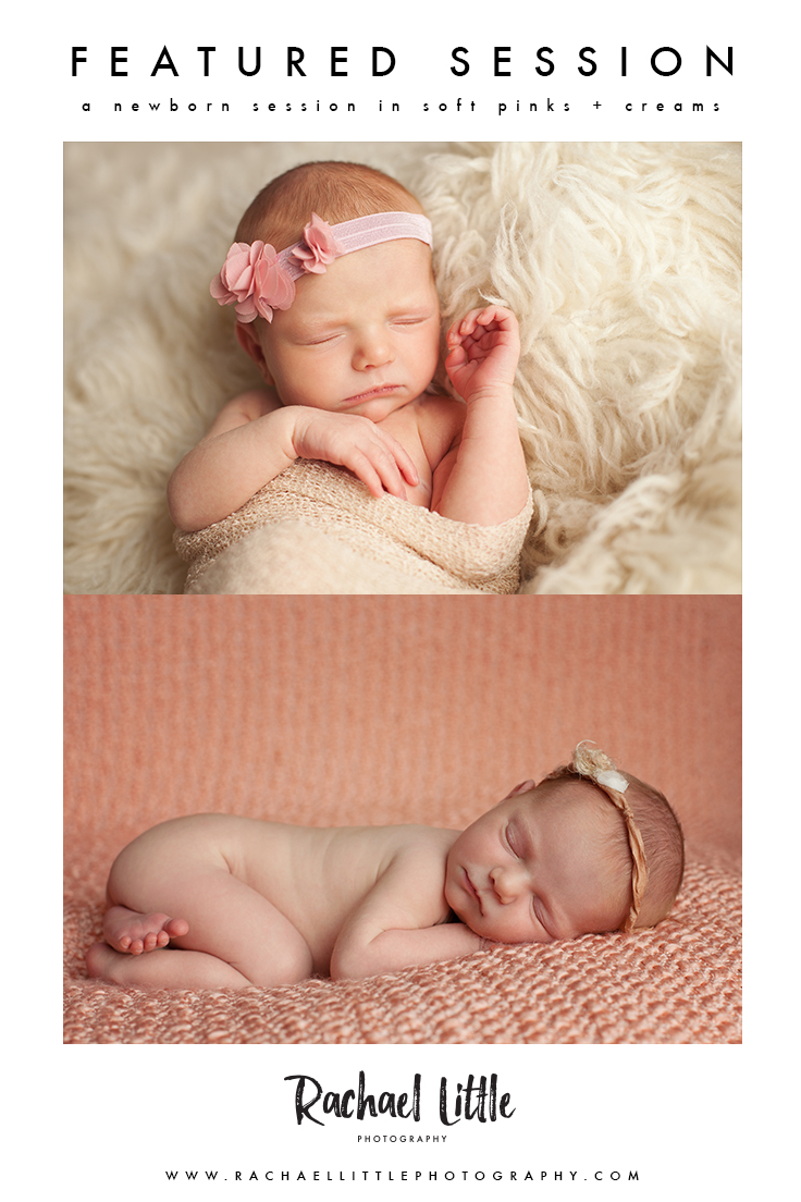 Newborn photography session for baby girl in pinks and creams. Simple posing and natural light photography in Woodstock Ontario.