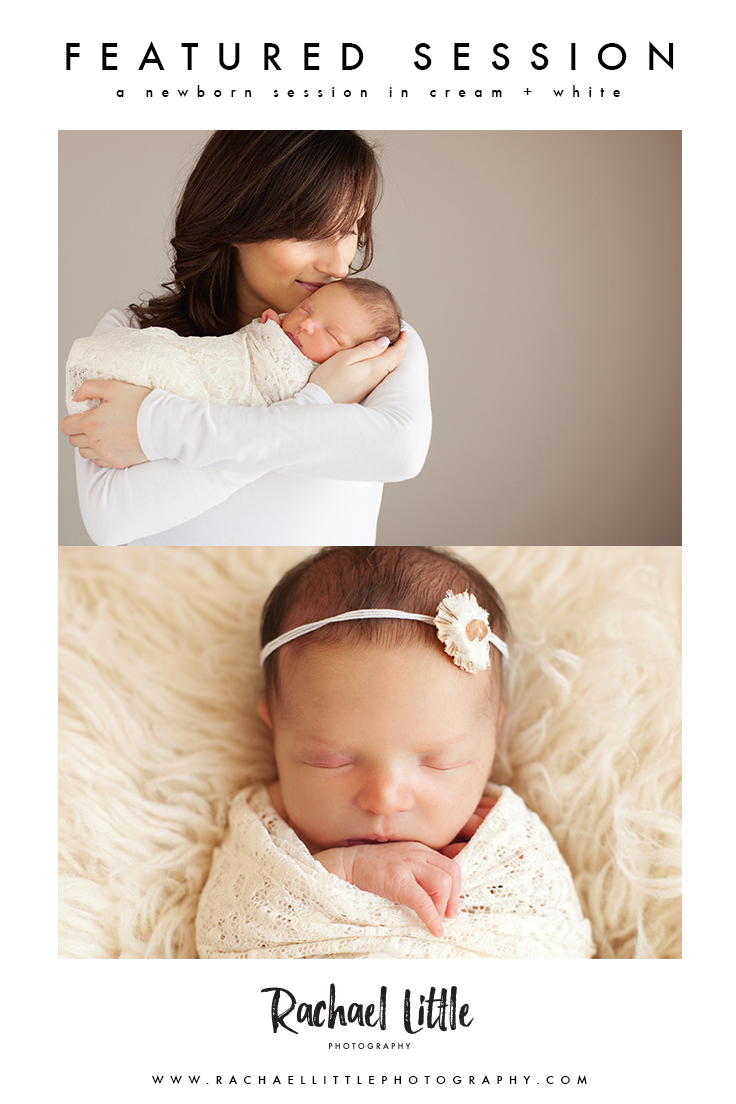 Newborn photography session styled in cream + white. Family images featuring the mom and dad posing with their new baby girl. Photographed in a natural light studio in Woodstock, Ontario.