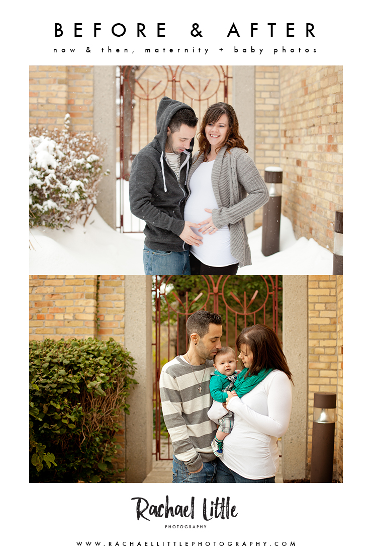 Maternity before & after pictures. It's a really fun idea to revisit the same location during your maternity and baby portraits to see how things change.  These maternity & baby photographs were taken in downtown Woodstock, Ontario.