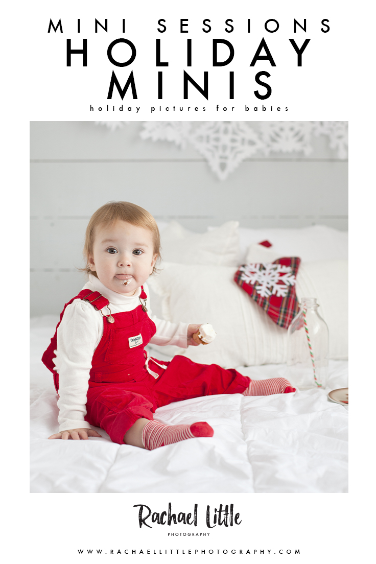 Light and airy Christmas Mini Sessions with pops of red!  Christmas minis for babies are my favourite.  Photographed in a natural light studio in Woodstock, Ontario.