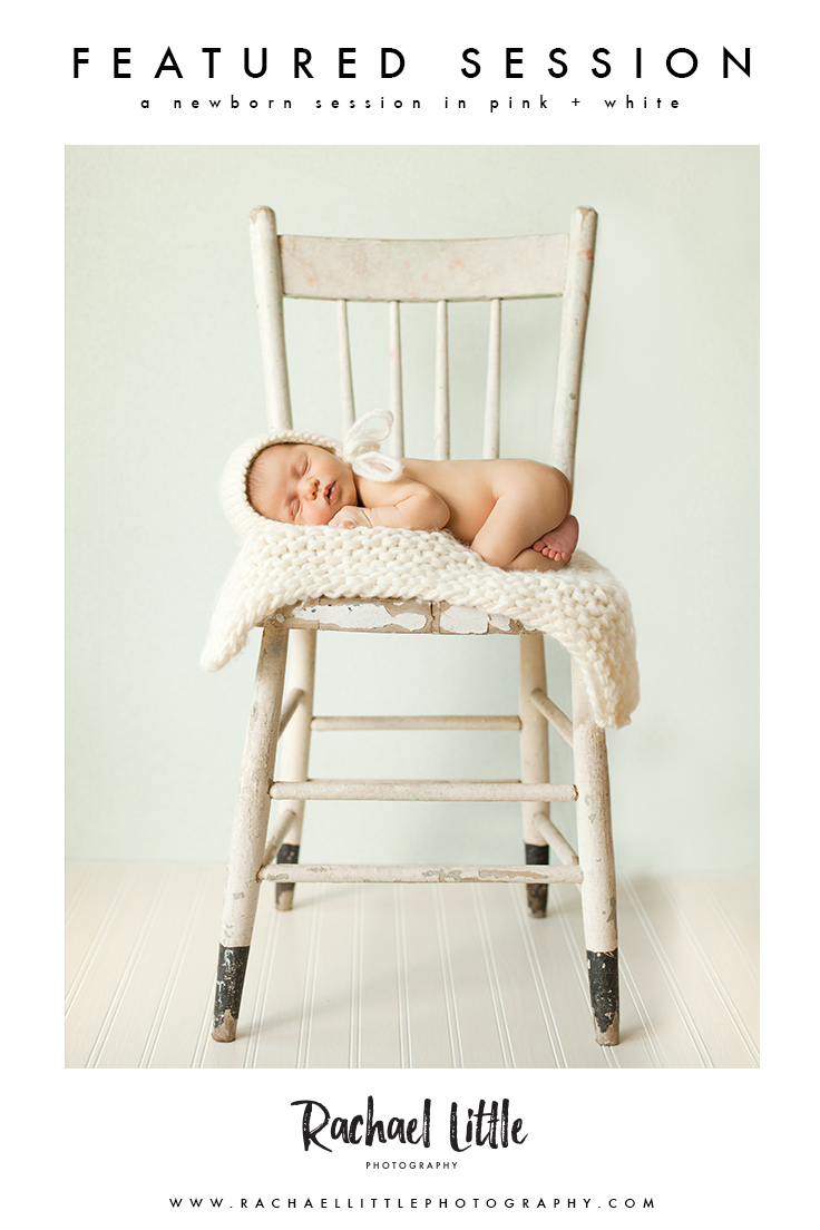 A newborn baby posed on a chair in a cream setup.  Photographed in a natural light studio in Woodstock, Ontario.  This image was created using a series of composites so that the baby was safe at all times.