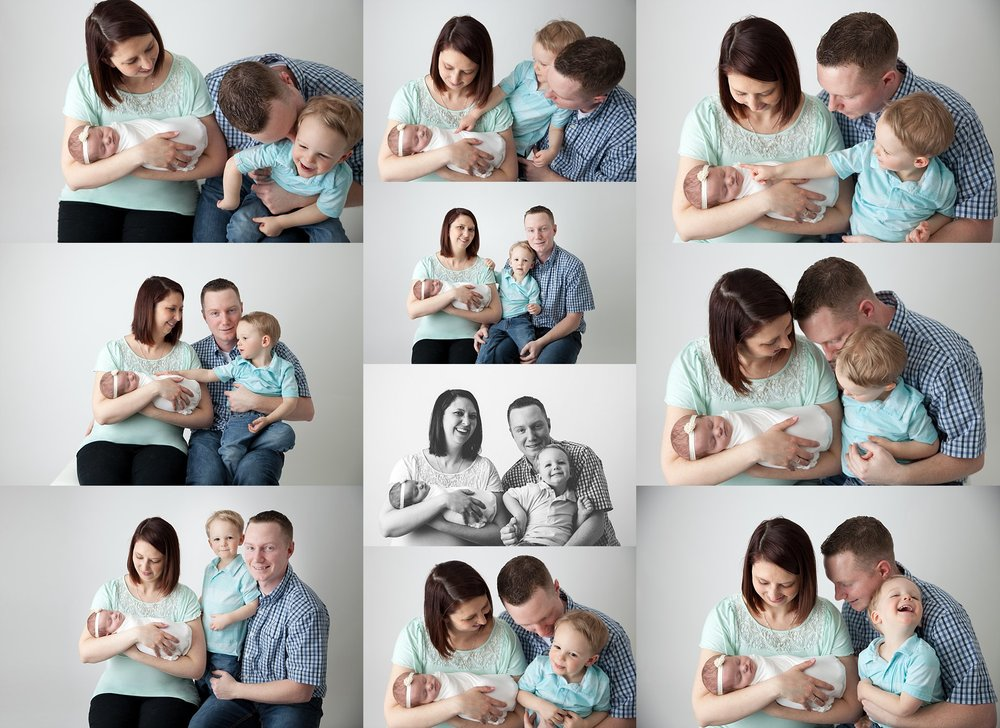 A cute collage of a brand new baby girl and her family with big smiles. Taken at Woodstock Photography Studio, Rachael Little Photography.