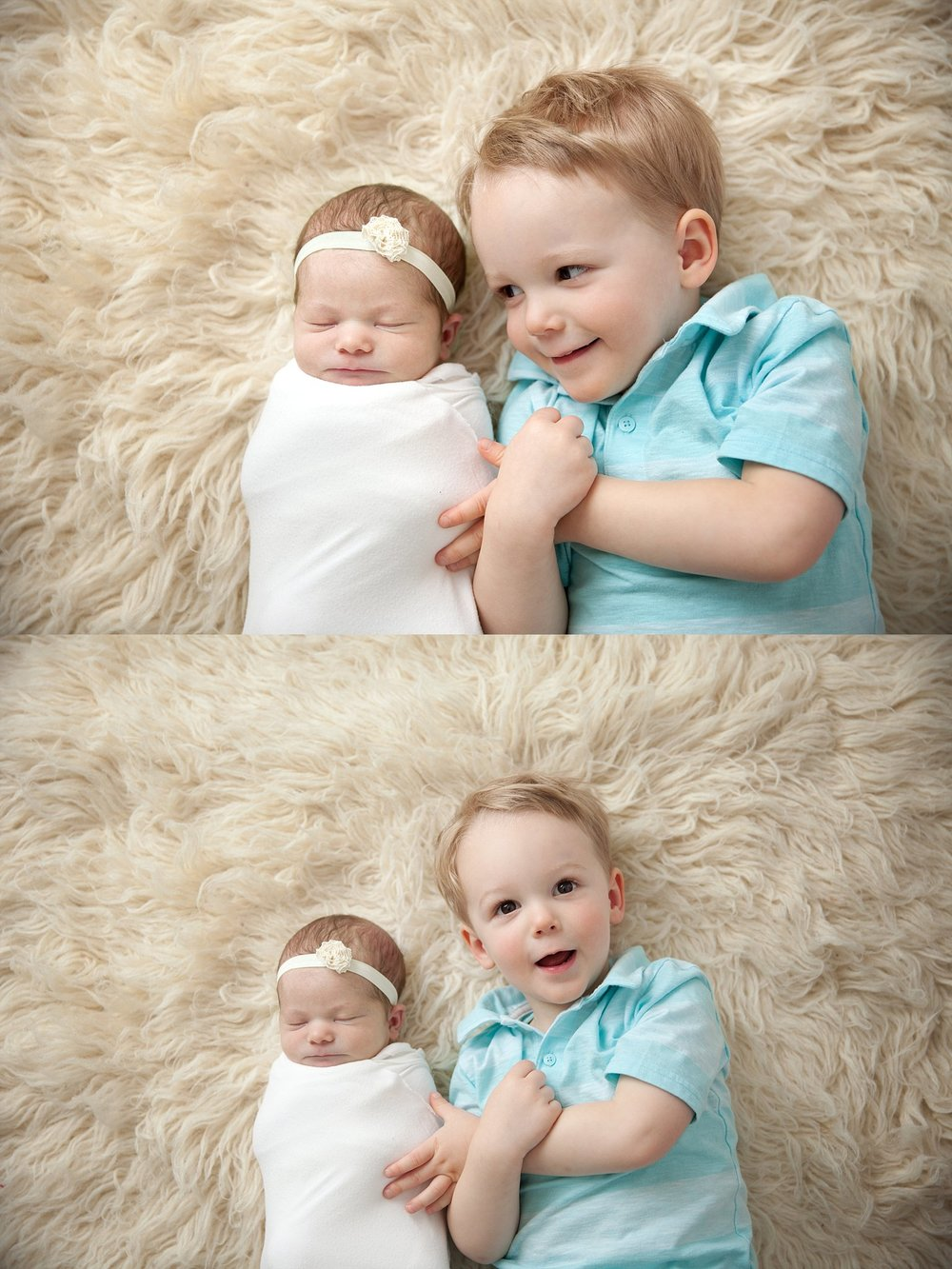 A photograph of a newborn baby girl with her older brother. Photographed at Rachael Little Photography's studio in Woodstock, Ontario.