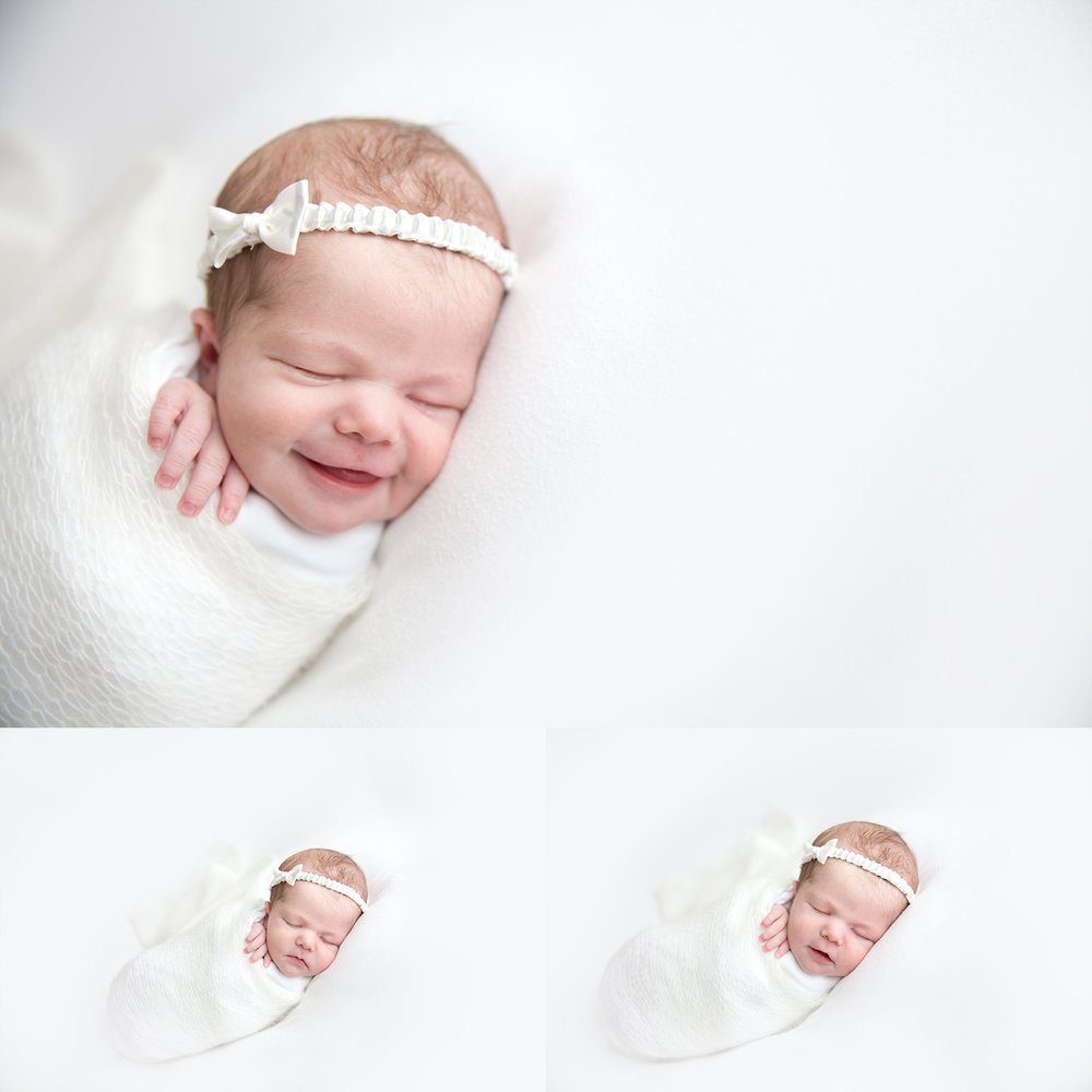 A photograph of a newborn baby girl swaddled in cream and white mohair.Photographed at Rachael Little Photography's studio in Woodstock, Ontario.