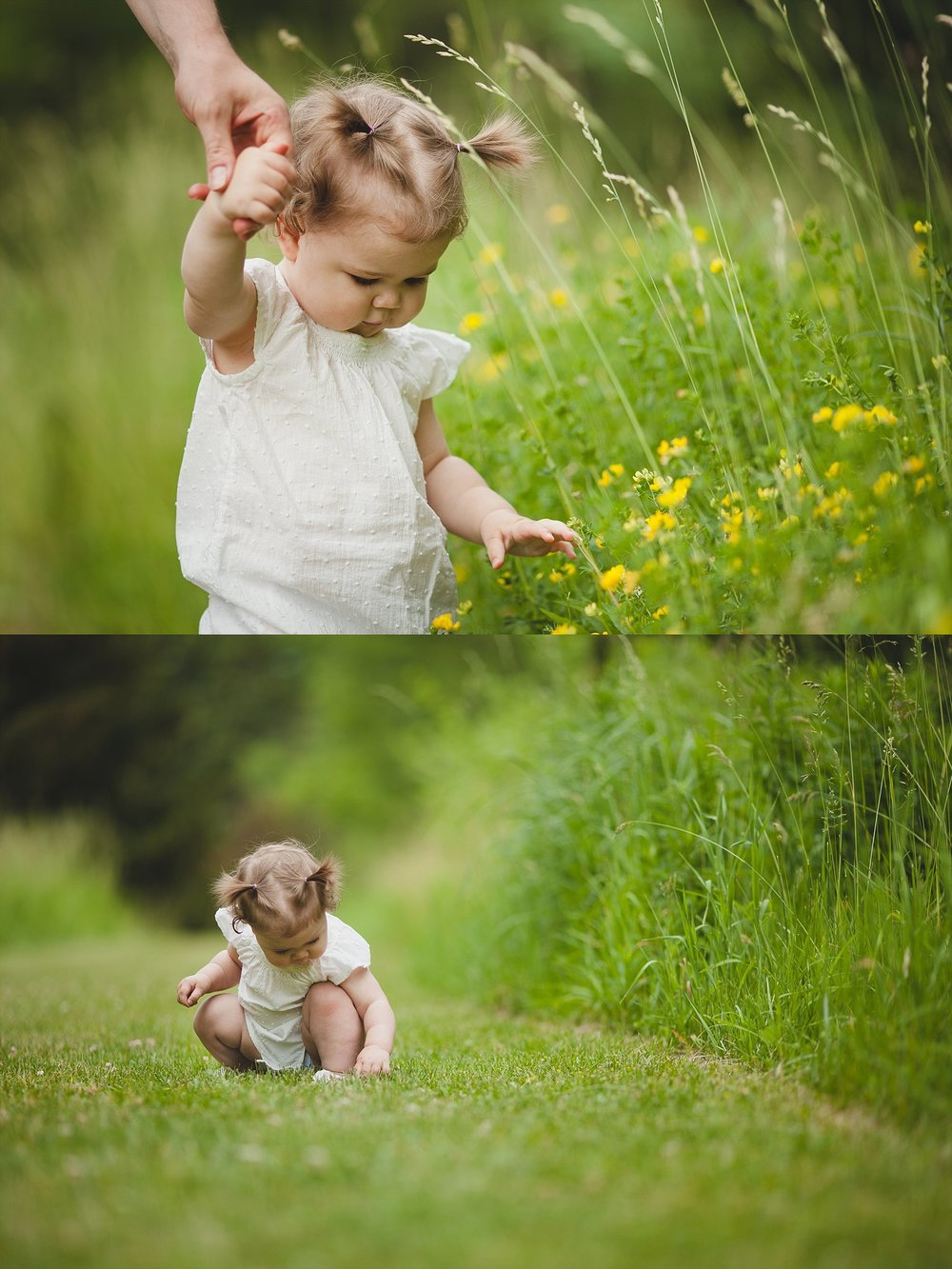 Cute image of one year old baby playing in the grass.