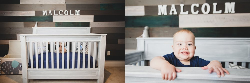 A handmade crib painted with grey chalk paint and blue linens. Photographed near Woodstock, ON by Rachael Little Photography.