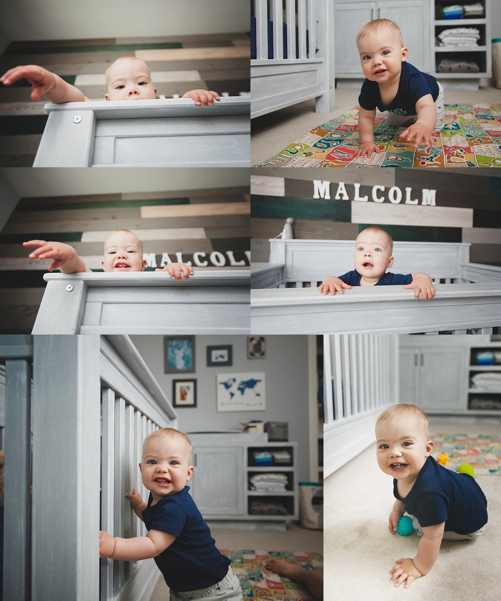 Toddler smiling while playing in his crib.Photographed near Woodstock, ON by Rachael Little Photography.