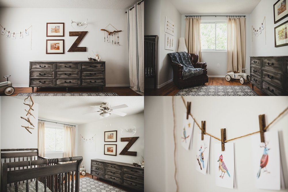 Beautiful minimalist nursery featuring driftwood mobile and rustic artwork. Photographed by Rachael Little Photography in Woodstock, Ontario.