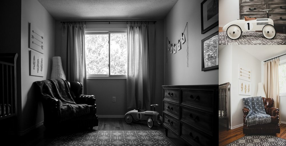 Reading nook in baby nursery. Photographed by Rachael Little Photography in Woodstock, Ontario.