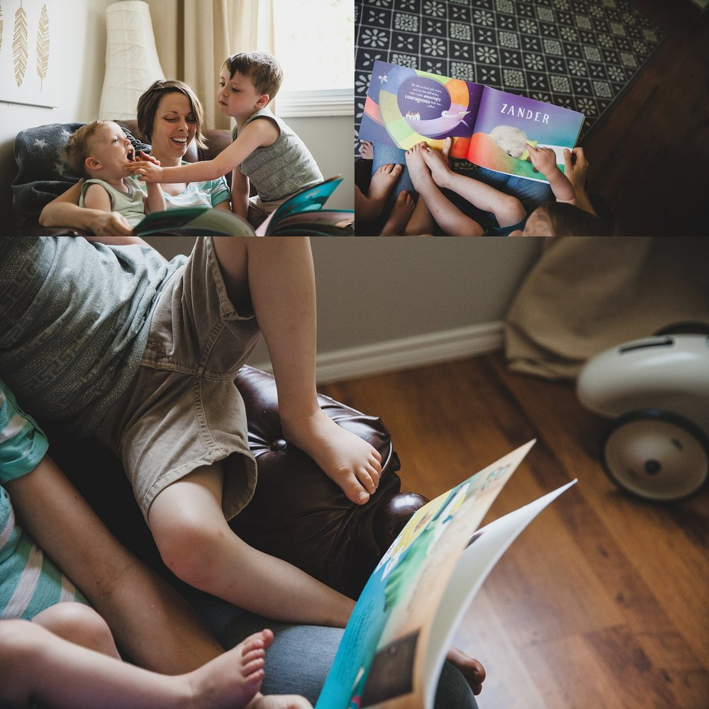 Reading a story on moms lap in the nursery. Photographed by Rachael Little Photography in Woodstock, Ontario.