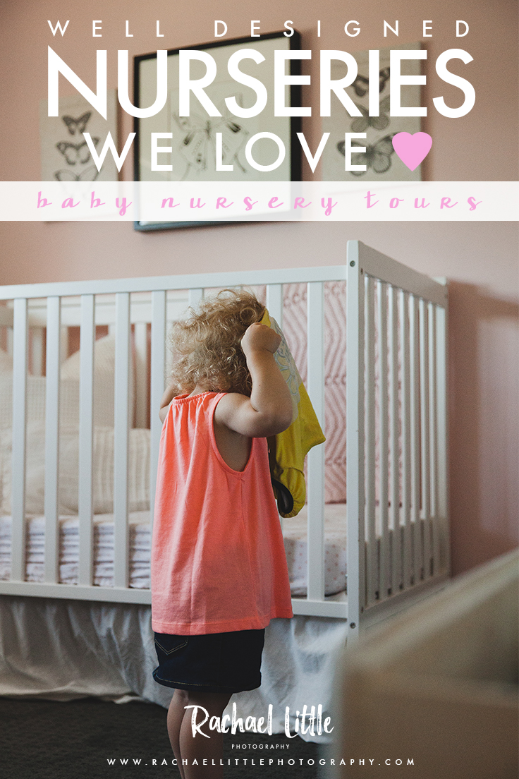 Photograph of a toddler playing dress-up in her contemporary nursery in pink and grey.Photographed by Rachael Little Photography near Woodstock, Ontario.