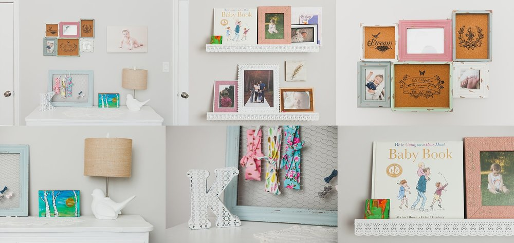 Family Photo Collage in a baby girl nursery.
