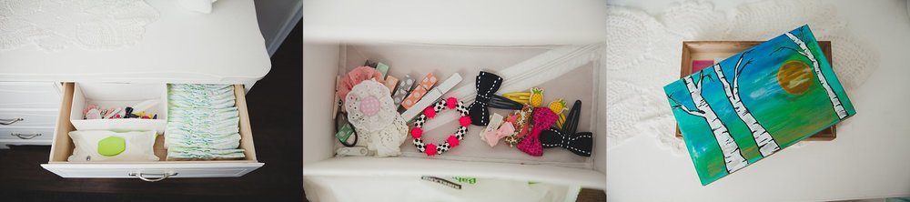 Clever Storage Solutions in a girls nursery.Photography by Rachael Little Photography in Woodstock, Ontario.