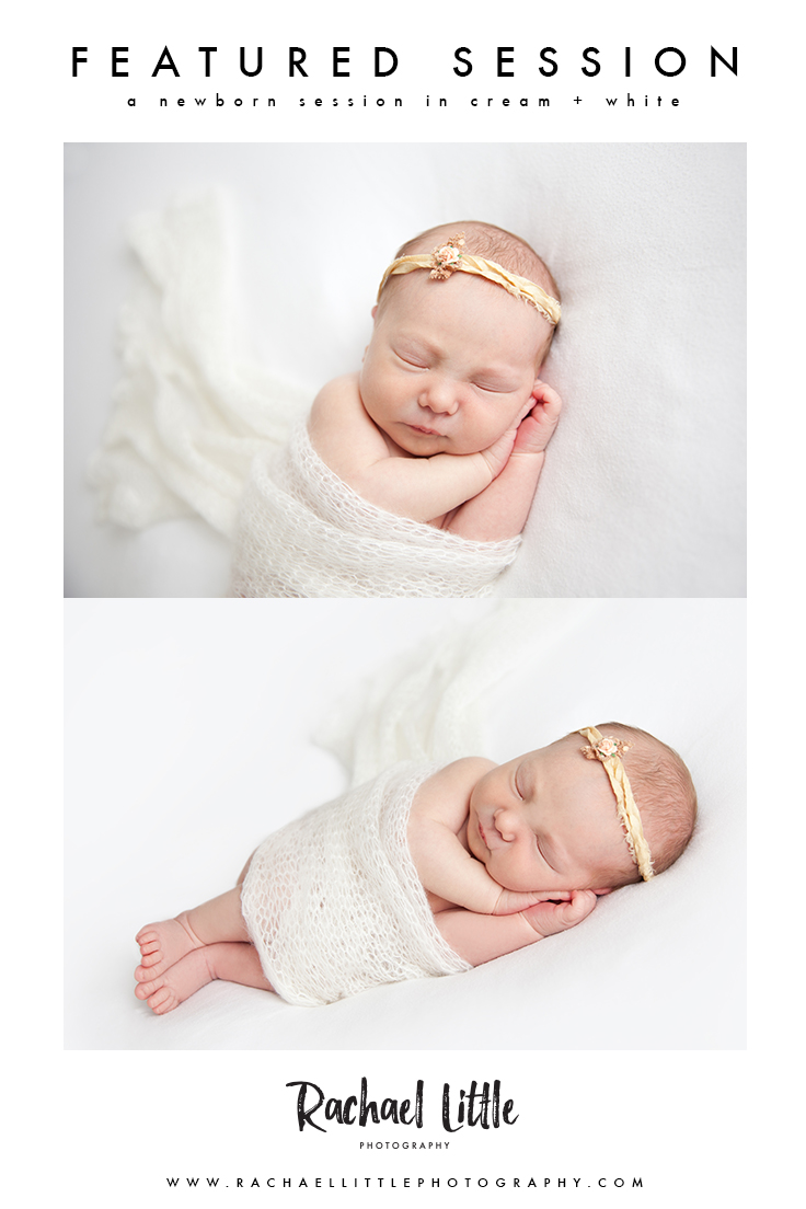 A newborn photography session featuring white and cream props.  Neutral colours and natural poses.  Photographed by Rachael Little in her Woodstock Ontario Studio.