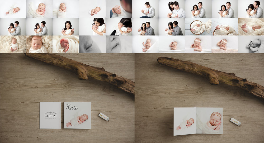 Pictures of a typical newborn session and a 5x5 flushmount keepsake album by Rachael Little Photography in Woodstock, ON.
