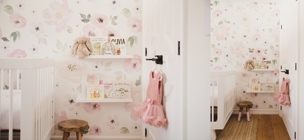 Beautiful girls nursery with floral watercolour wall decal. Photographed by Rachael Little Photography in Woodstock, Ontario.