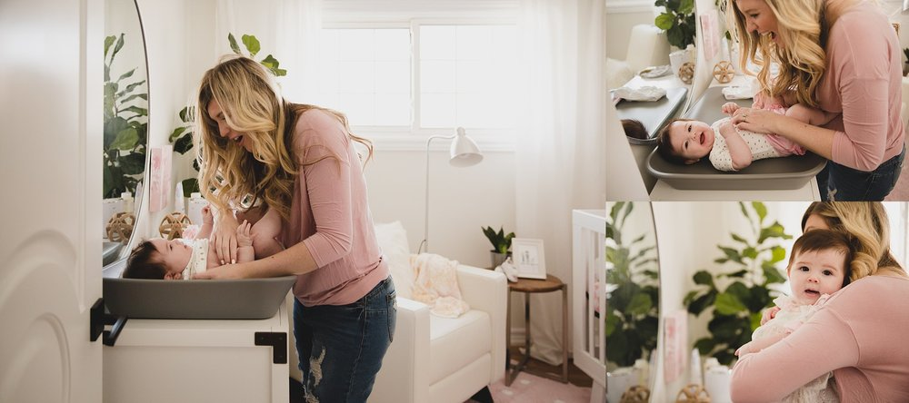 Image of beautiful pink nursery with Fiddle Leaf Fig and Snuggle Bugz Crib and dresser. Styled and Designed by Jaclyn Harper Colville in Burlington Ontario. Photographed by Rachael Little Photography of Woodstock ON.