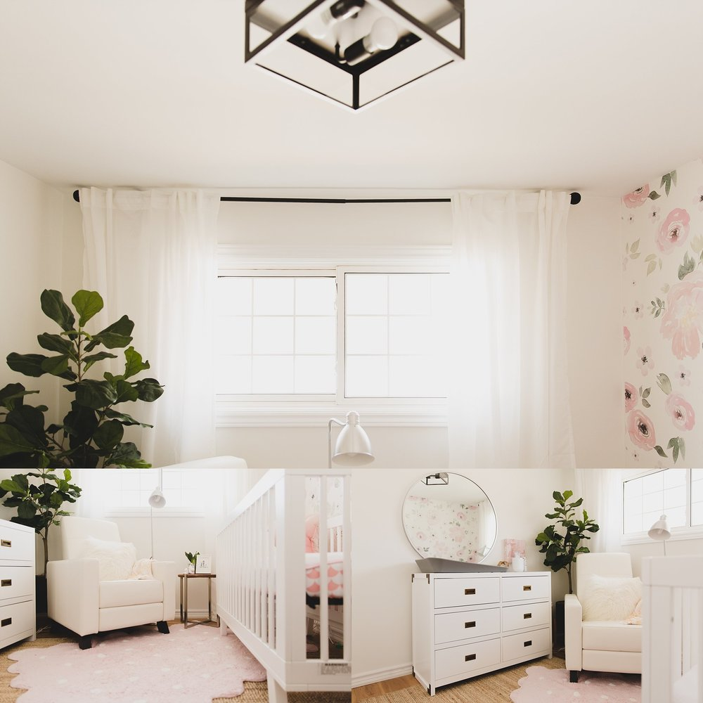 Picture of girls nursery in white with pink and green accents. Designed by Jaclyn Harper Colville in Burlington ON and Photographed by Rachael Little Photography -- Woodstock, Ontario.