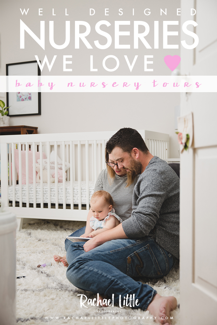 Photograph of a mom with her baby in a pink and white girls baby nursery, designed by Stylish Jaclyn Harper Colville. Features Nestled by Snuggle Bugz furniture, wallpaper decal from Rocky Mountain Decals. Photographed by Rachael Little Photography near Burlington, Ontario.
