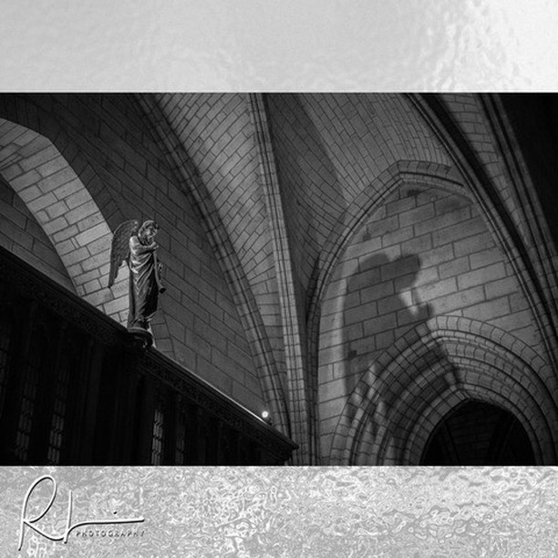 Angel's shadow. This is located right at the entrance into the Norte Dame Cathedral in Paris. . . . #notredamecathedral #notredamedeparis #notredameangel #visitparis #travelphotography