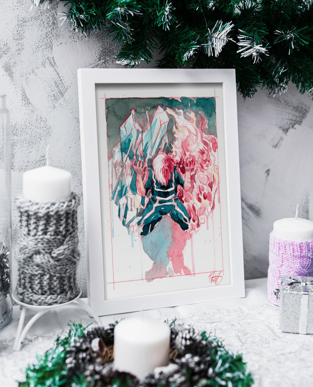 Watercolor Todoroki Print starting at $15  HERE .  Fun Fact: If you look closely to the left and right you can see Shoto's mom in the Ice and his dad Endeavor in the fire.