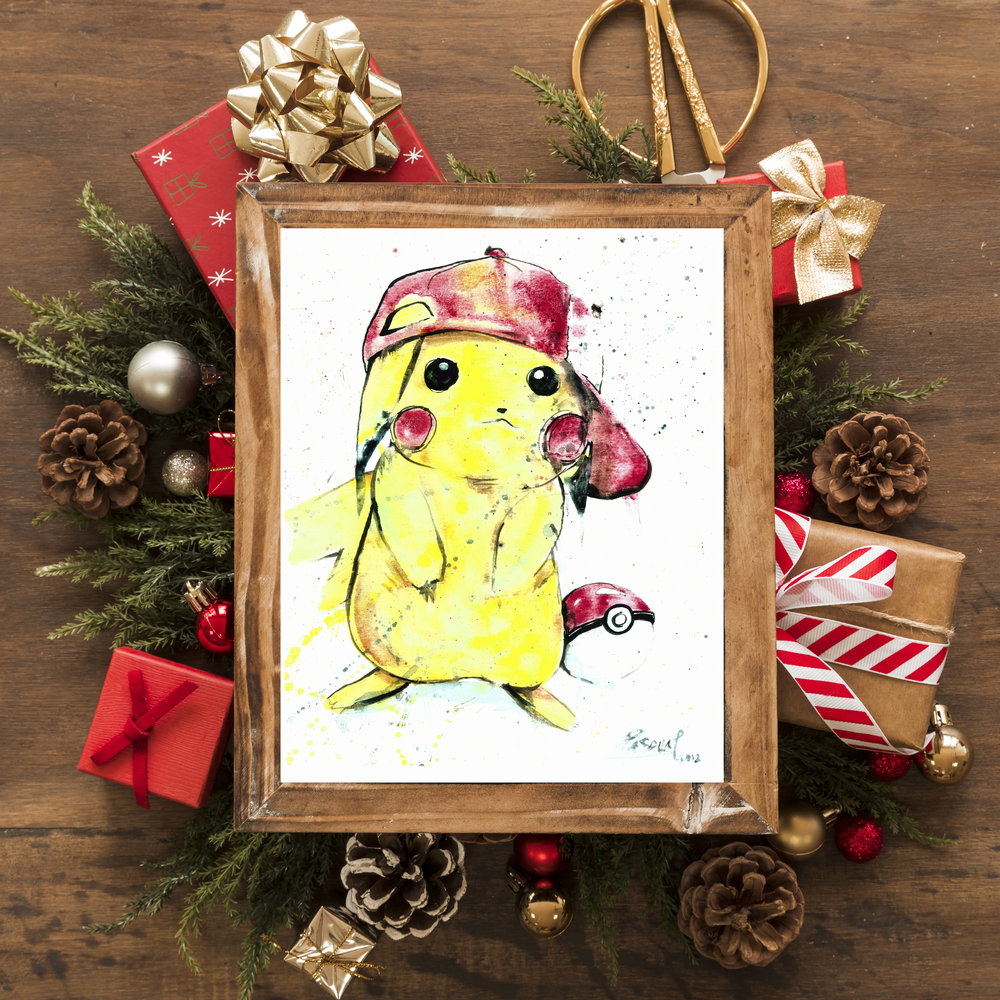 Watercolor Pikachu Print starting at $15  HERE .  FUN FACT: This was one of Geoff's oldest pieces that he painted in 2014, and is still a standing favorite!