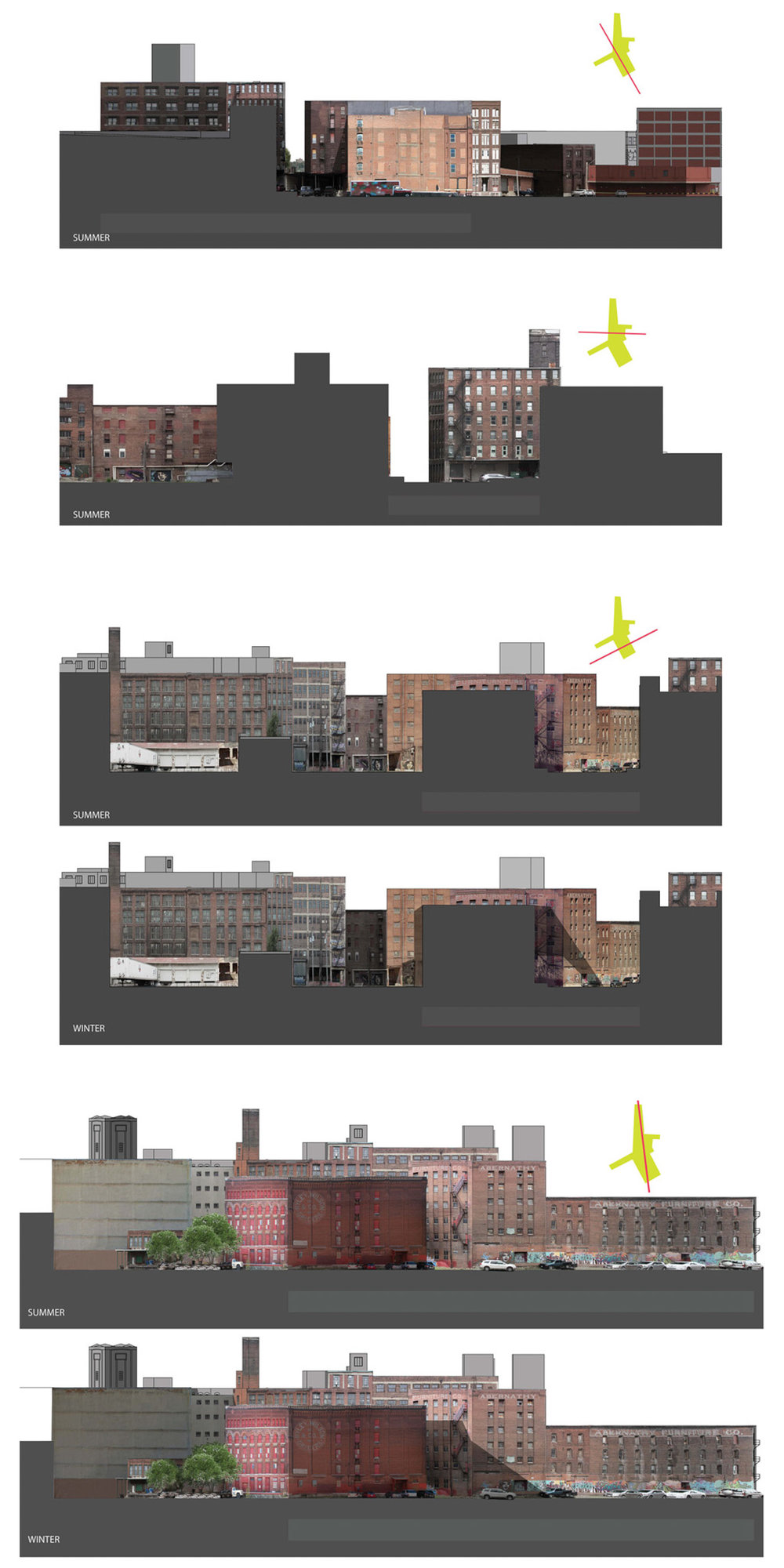 Sectional study of buildings, objects in space, and their generation of shadows.   View a pdf of this image to zoom in.