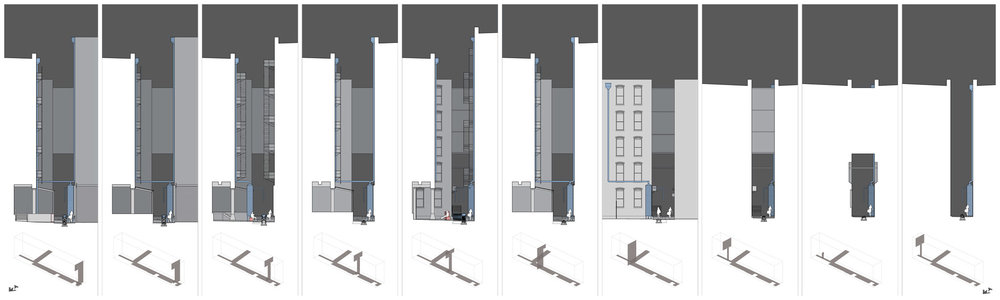 The illustration demonstrates spatial expansion and compression of the site and the translation of the proposed design elements into the space.   View a pdf of this image to zoom in.