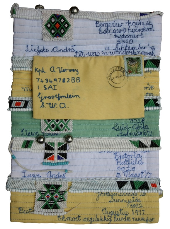 Corina Lemmer: Love Letters 5, fabric, embroidery and beads