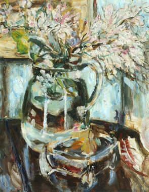 Valerie Leigh,  Jug with Spring Flowers  (1966), oil on canvas