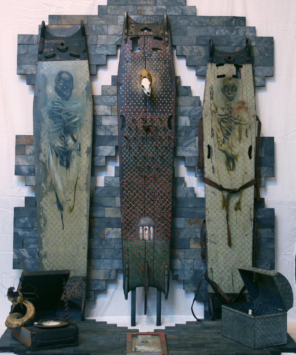 Judith Mason Attwood,  From the Tombs of the Pharaohs of Jo'burg  (1986), mixed media triptych.