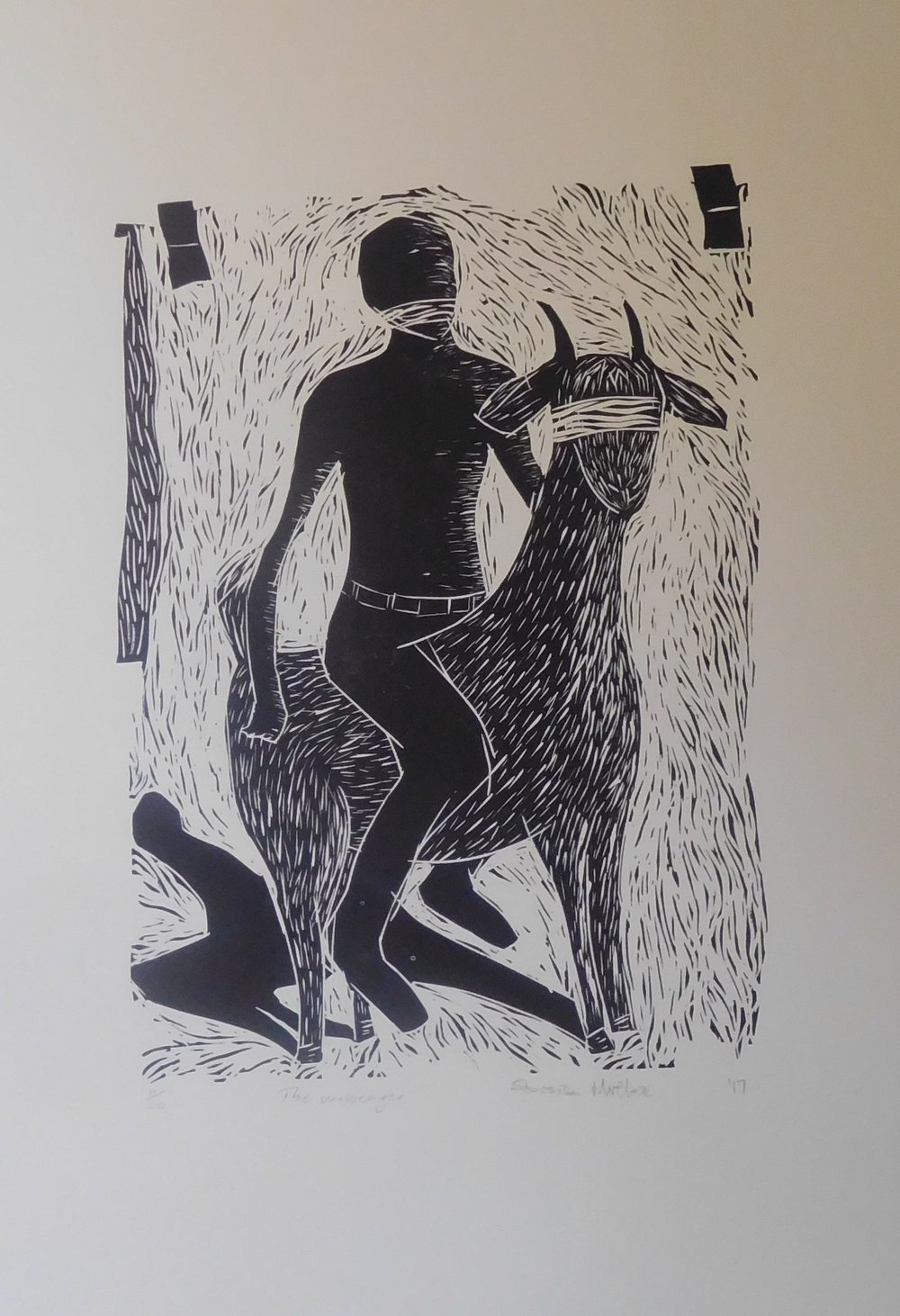 Above: Sibusiso Mvelase, The Messenger, linocut print