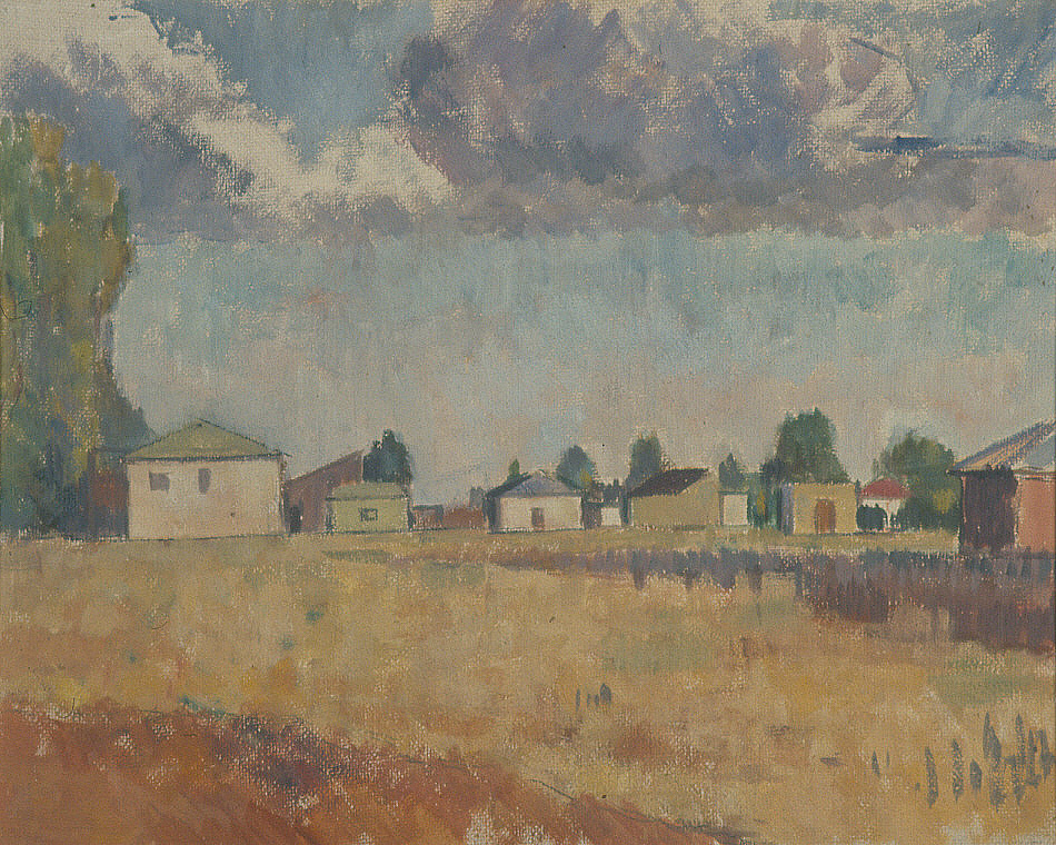 Frank G. Bell (1910-1943), Lyttleton Airfield, oil on board