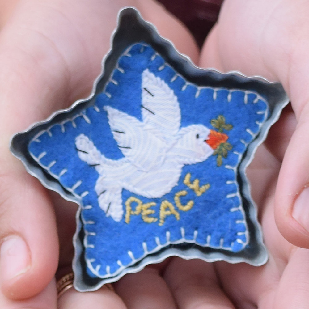 """""""PEACE"""" VINTAGE TABLE TOP COOKIE CUTTER ORNAMENT $40.00"""