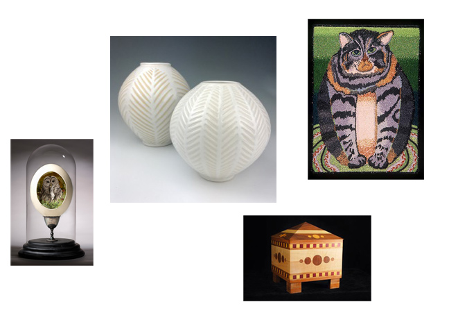 Summer Swan Invitational featuring textiles, sculptural work, and other crafts.