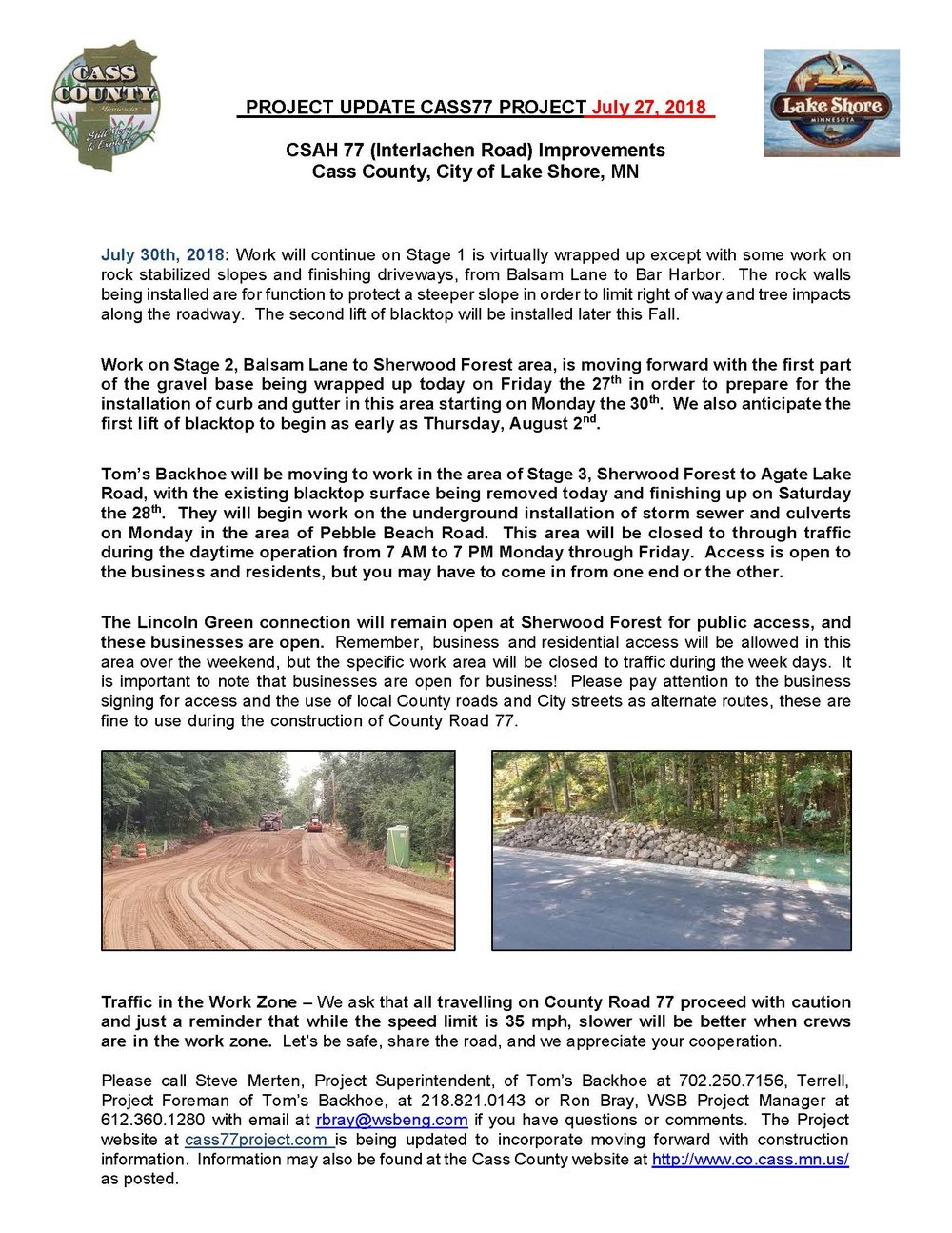 Cass County CSAH 77 Project update July 27 2018.jpg