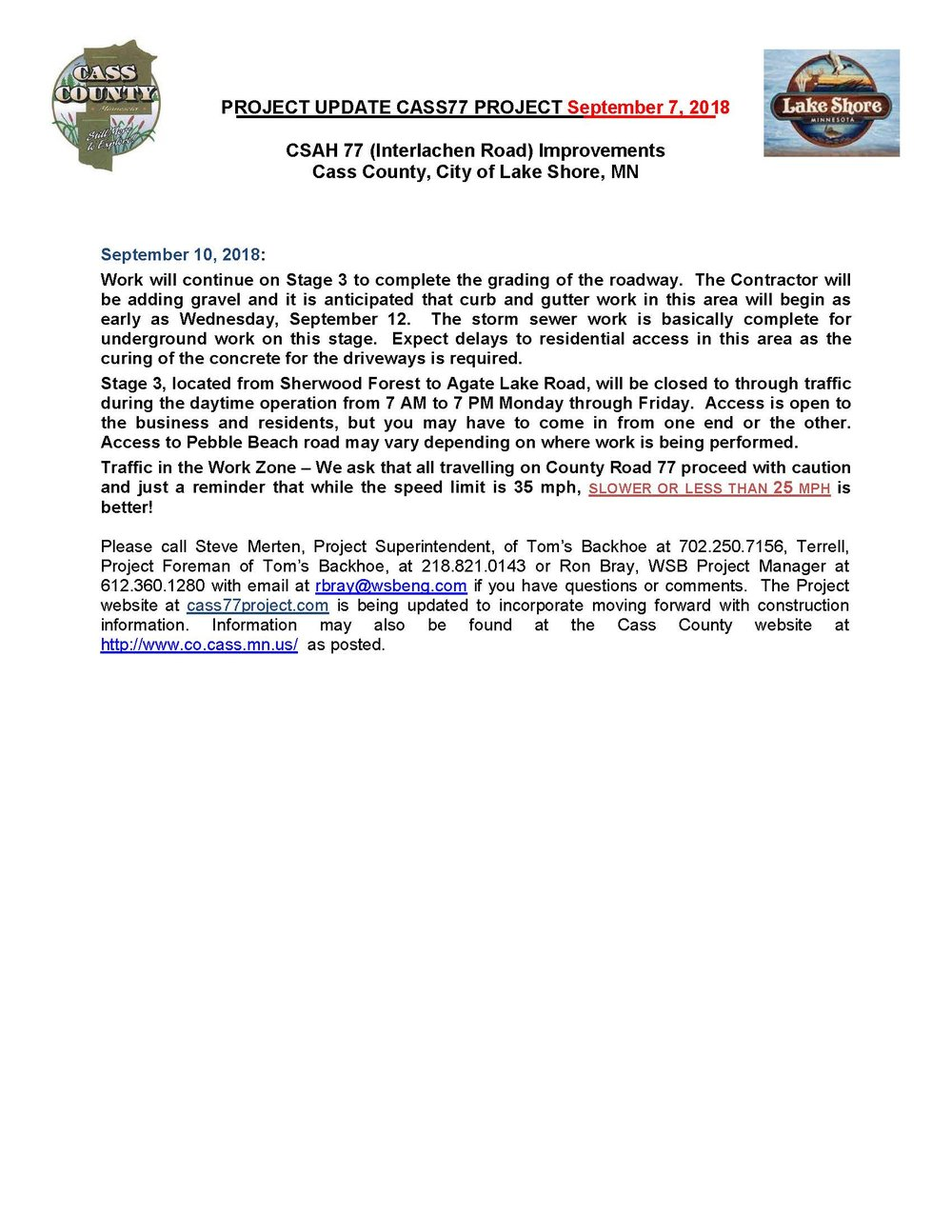 Cass County CSAH 77 Project update September 7th 2018.jpg