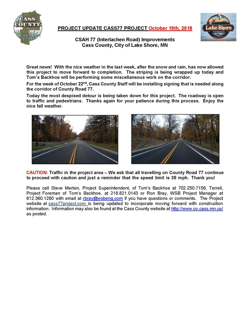 Cass County CSAH 77 Project update October 19th 2018.jpg