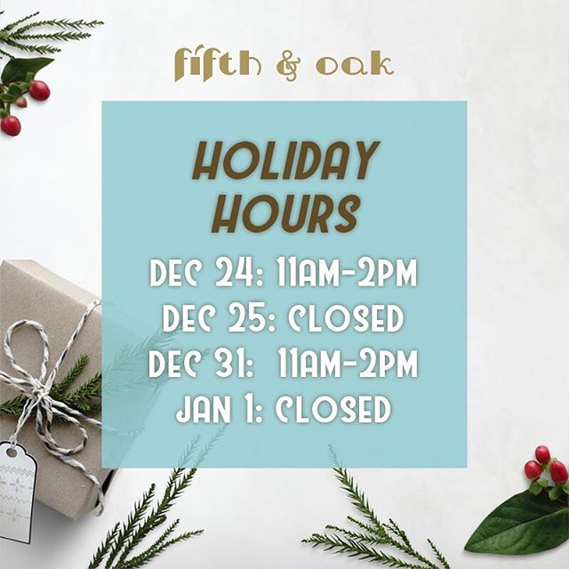 Our holidays hours have been posted! 🎄 . If you are having trouble looking for a gift, stop on by between 11am-3pm in Monday and Tuesday or 11-5pm from Wednesday to Saturday. 🎁