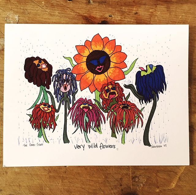 #funkyflower #greetingcards Illustrated by local designer Julie Keller, sure to bring a smile to any nature lover✌️ . Many designs to choose from, come on in to #fifthandoakbaraboo ! 🌻