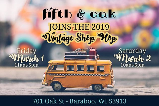 🚌 #Wisconsin and #Illinois folks: Have you heard of the #vintageshophop ? . 🍃This spring, we are getting ready for the largest #vintageshopping #roadtrip in the area. . 📍March 1-2 are the 2019 dates and if you're heading to #baraboowi , we hope that you put Fifth & Oak on your map!