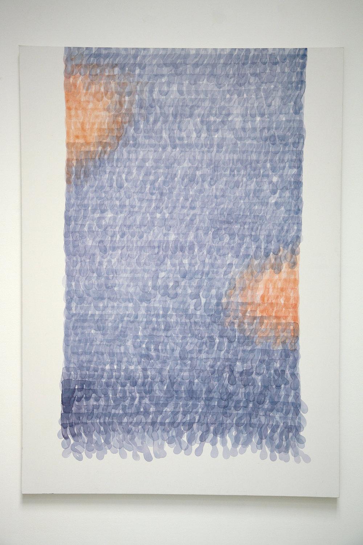Bad Knitting - blue  (2015), acrylic on canvas, 100 x 140cm