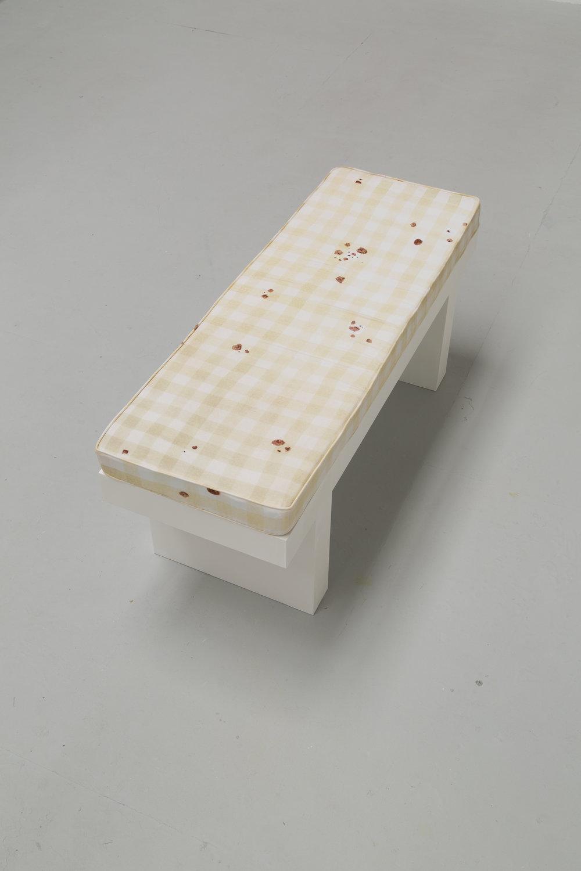 Viewing bench  (2017):MDF, digital print on cotton satin, foam block