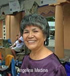 Angelina Medina was born December 5, 1942, a member of the Bear Clan at Acoma, and has been an active pottery artist since the 1980s' Her work in hand-made polychrome pots has earned her many awards within the Native American arts community.      Angelina is also a respected mentor and teacher. Her students have included Noreen Simplicio and Anderson Peynetsa.