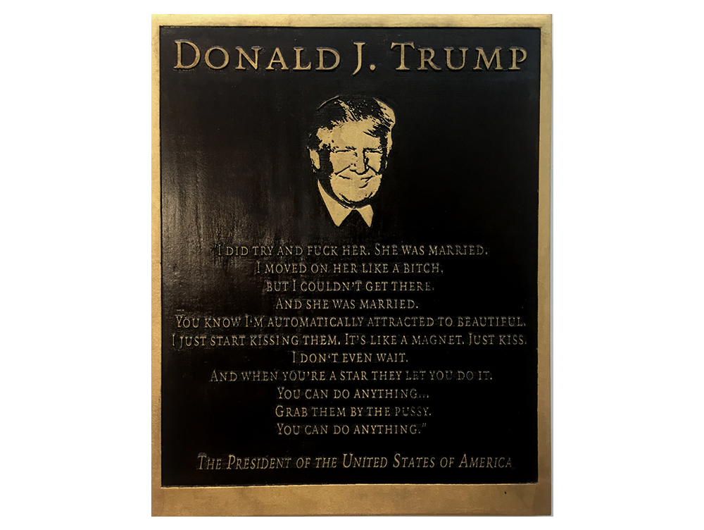 Marilyn Minter: Trump Plaque