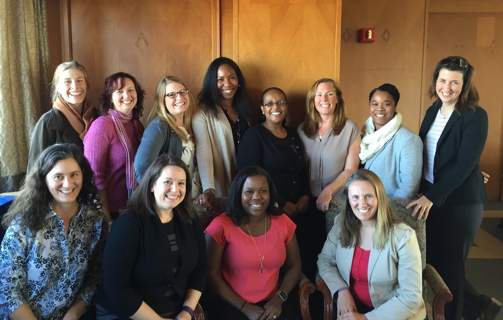 ESWN Leadership Board pictured in November 2016 at the University of Pittsburgh: (Back row, L to R) Emily Fischer, Meredith Hastings, Becca Barnes, Aisha Morris, Asmeret Berhe, Christine Wiedinmyer, Melanie Harrison Okoro, Tracey Holloway; (Front Row) Erika Marin-Spiotta, Manda Adams, Melissa Burt, Maura Hahnenberger. (Not pictured: Rachel Licker)